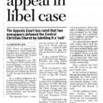 """Lim, Seng Jin. """"Church wins appeal in libel case."""" The Straits Times 1 Sept. 1998: n. pag. Print."""